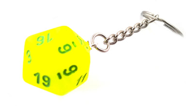 Electric Yellow Vortex D20 Keyring