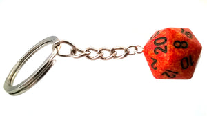 Speckled Fire D20 Keyring