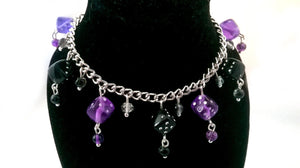 Purple & Black Dice Charm Bracelet Geeky