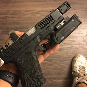 Glock 23 to 9mm KKM barrel conversion TBRCI Steiner Optics DBAL-PL Trijicon RMR06 ATEI Guns slide porting