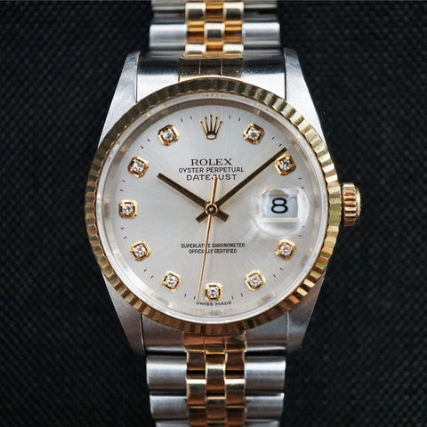 SOLD- 1995 Rolex Datejust 16233 Factory Diamond Silver Dial