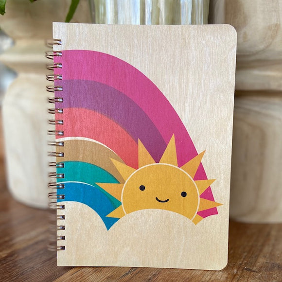 Rainbow Sun Wood Blank Journal