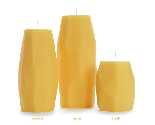 Beeswax Faceted Pillars