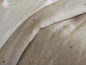 Scattered Embroidered Organic Linen Duvet Cover/Shams