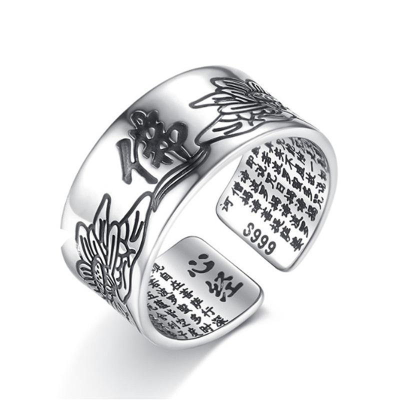 Lotus Sutra fashion rings Adjustable Buddhism Thai silver jewelry hand