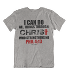 Mens t shirt Christ who strengthens me - oldprophet.com