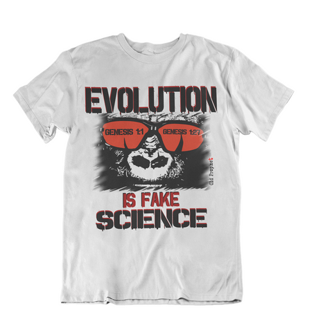 Mens t shirt Evolution is fake science - oldprophet.com
