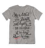 Womens t shirts She is clothed in strength - oldprophet.com