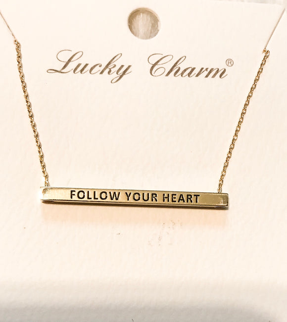 Follow Your Heart Bar Necklace-Gold