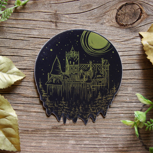 Gold Dracula's Castle Sticker