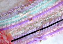 Load image into Gallery viewer, Unicorn Lace Choker Kitty Collar Pastel Goth Soft Grunge Vaporwave Costume Furry Bell Bow Purple and Pink Fairy Kei Kawaii Cosplay Kigurumi