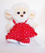 Load image into Gallery viewer, Kawaii Monkey Plush with Heart Print Dress - Made in Korea 80s 90s Nostalgia White Fur Red Skirt Lace Kawaii Plushie Doll Shojo Manga Retro