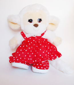 Kawaii Monkey Plush with Heart Print Dress - Made in Korea 80s 90s Nostalgia White Fur Red Skirt Lace Kawaii Plushie Doll Shojo Manga Retro