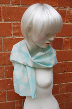 Load image into Gallery viewer, Pastel Blue Shibori Scarf - Kimono Tie Dye Japanese Geometric gypsy headband wrap crystal scarf Stars Celestial summer light scarf vaporwave