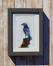 Load image into Gallery viewer, Magical Raven Watercolor Print Art Painting Fantasy Nature Animal Bird Magic Woodland Mushrooms Wicca Norse Mythology Viking Odin Goth Cute