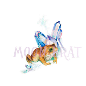 Magical Toad Watercolor Print Art Painting Aura Crystal Fantasy Nature Animal Amphibian Magic Woodland Wicca Witchcraft Cute Frog Familiar