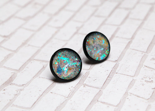 Sarah Holo Stud Earrings Black Glitter Moonstone Opal Grunge Galaxy Goth Fake Gauge Aura Crystal Holographic Iridescent Cyber Punk Unicorn
