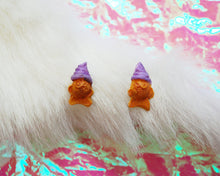 Load image into Gallery viewer, Taiyaki Ice Cream Earrings in Ube - Purple Kawaii Dessert Studs