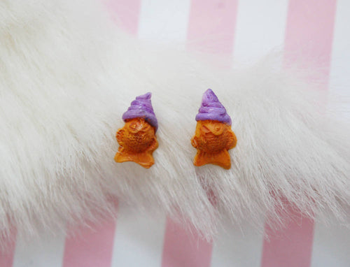 Taiyaki Ice Cream Earrings in Ube - Purple Kawaii Dessert Studs