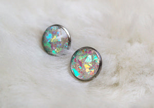 Unicorn Earrings Holographic Rainbow Post Studs Space Babe Pastel Goth Opal Vaporwave Crystal Witchy Princess Costume Sci Fi Fantasy Alien