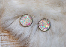 Load image into Gallery viewer, Unicorn Earrings Holographic Rainbow Post Studs Space Babe Pastel Goth Opal Vaporwave Crystal Witchy Princess Costume Sci Fi Fantasy Alien