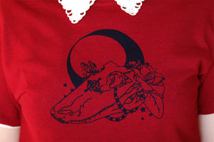 Voodoo T Shirt Hand Screen Printed  New Orleans Skull Original Mardi Gras Alligator Magnolias Moon South Alternative Goth Witchy Occult