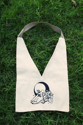 Voodoo Skull Canvas Bag with Moon Hand Screen Printed Sewn Fair Trade Witchy Grocery Tote Reusable Goth Alligator Cotton Witch Original Art