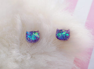Opal Cat Earrings in Holo Amethyst Purple - Holographic Magic Sailor Moon Luna Pastel Goth Kawaii Kitty Moon child Witch