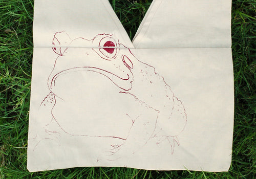 Magic Toad Canvas Bag - Hand Screen Printed Sewn Fair Trade Witch Grocery Tote Reusable Goth Frog Cotton Woodland Original Art