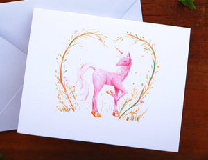 Unicorn Valentine Card - Valentines Day Love Card Painted Pastel Woodland Fantasy Fairy Tale Princess Girl