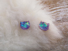 Load image into Gallery viewer, Opal Cat Earrings in Holo Amethyst Purple - Holographic Magic Sailor Moon Luna Pastel Goth Kawaii Kitty Moon child Witch