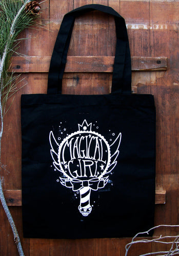 Magic Girl Bag - Pastel Goth Feminist Kawaii Witch Mahou Shoujo Black Cotton Tote Star vs the Forces of Evil Wand Magic Anime Girl Power