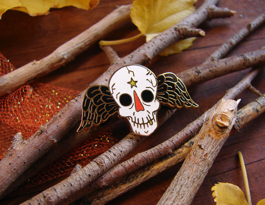 Winged Skull Enamel Pin