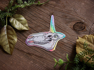 Holo Unicorn Skull Vinyl Sticker