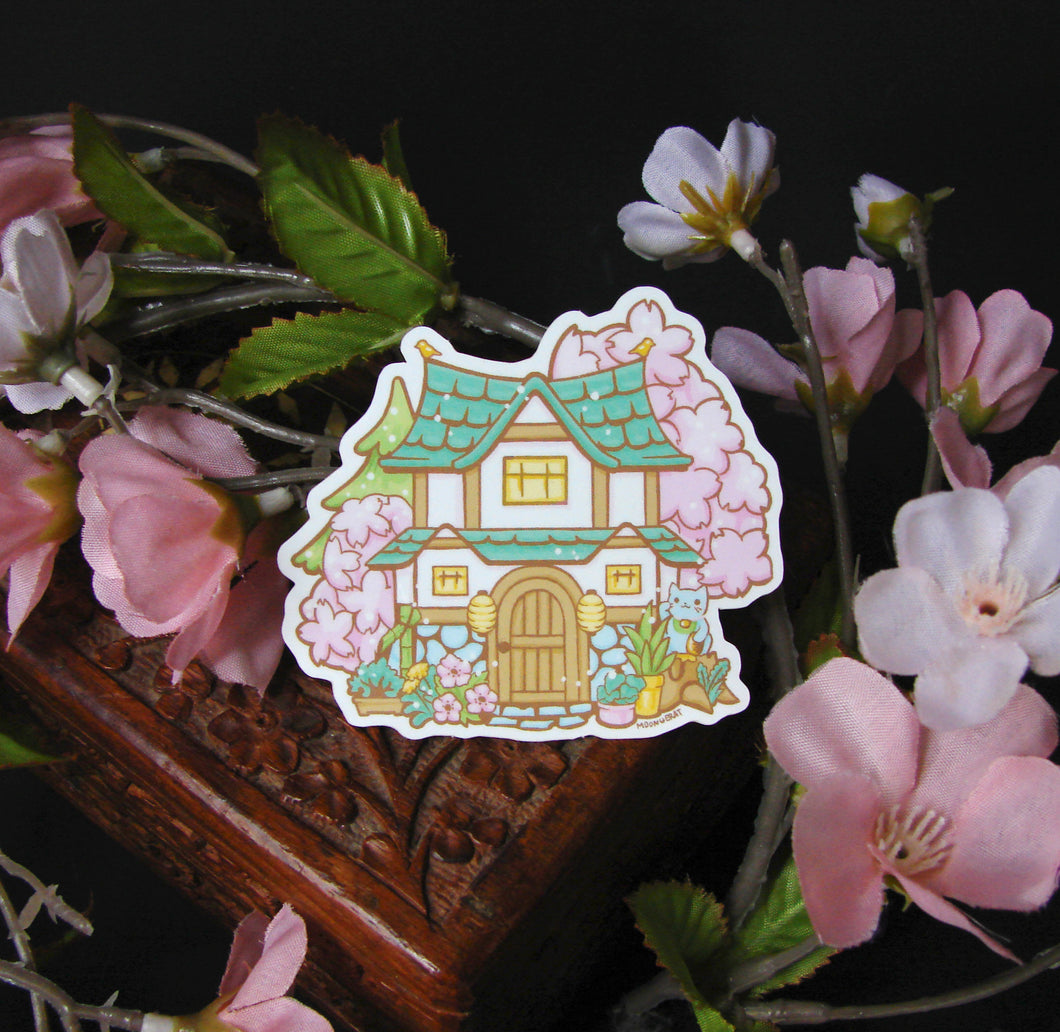Spring Animal Crossing House Vinyl Sticker