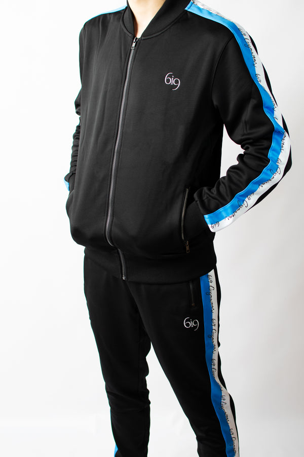 Tracksuit Bottoms Feat. Blue/White Taping - BIG Gymwear Ltd