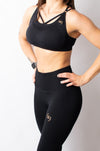 Legacy Crop Top Padded Bra - Black & Gold - BIG Gymwear Ltd
