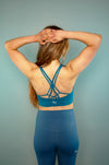 Define Cross Back Sports Bra (Blue) - BIG Gymwear Ltd
