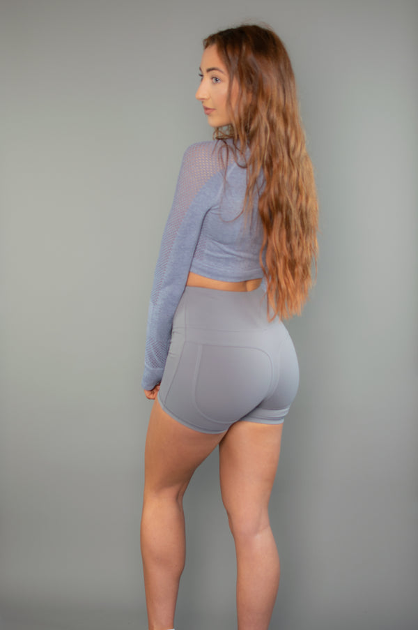 Define High Waist Contour Shorts (Grey) - BIG Gymwear Ltd