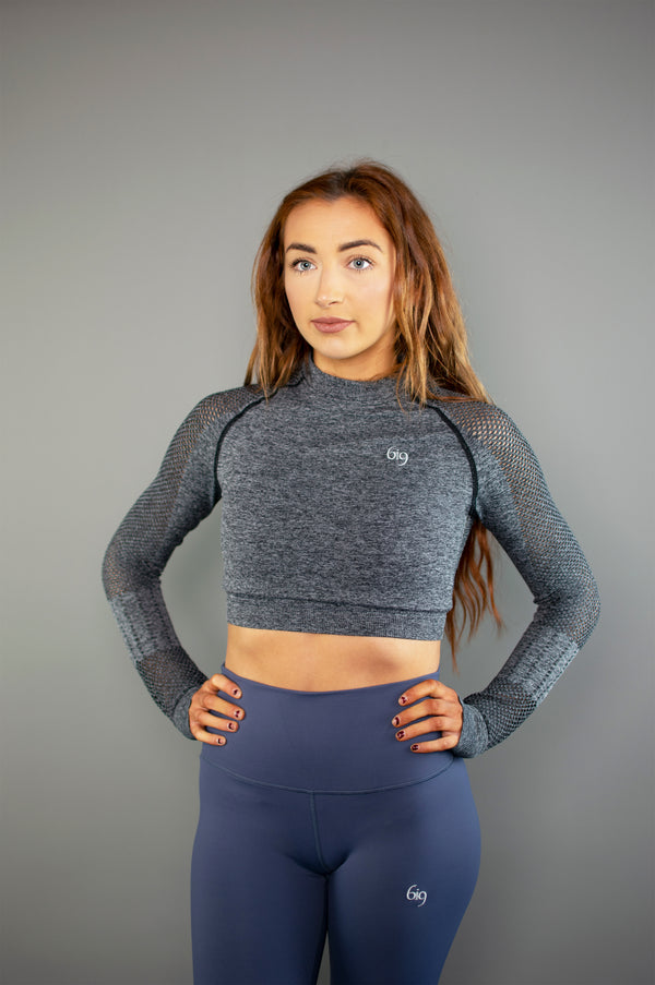 Performance Mesh Long Sleeve Crop Top (Red) - BIG Gymwear Ltd