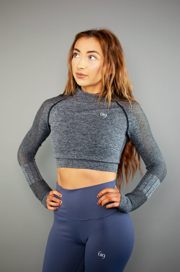 Performance Mesh Long Sleeve Crop Top (Blue) - BIG Gymwear Ltd