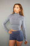 Define Cropped 1/2 Zip (Grey) - BIG Gymwear Ltd