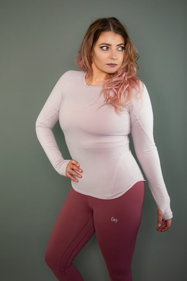 Exertion Rear Mesh Long Sleeve (Light Purple) - BIG Gymwear Ltd