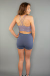 Define High Waist Contour Shorts (Blue) - BIG Gymwear Ltd