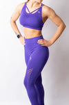 LEGACY CROP TOP PADDED BRA - PURPLE - BIG Gymwear Ltd
