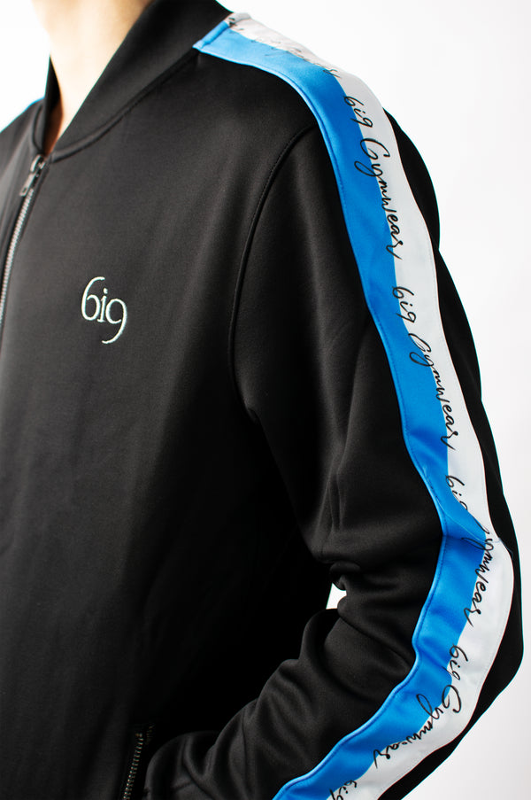 Signature Black Tracksuit Feat. Blue/White Taping - gym-usa