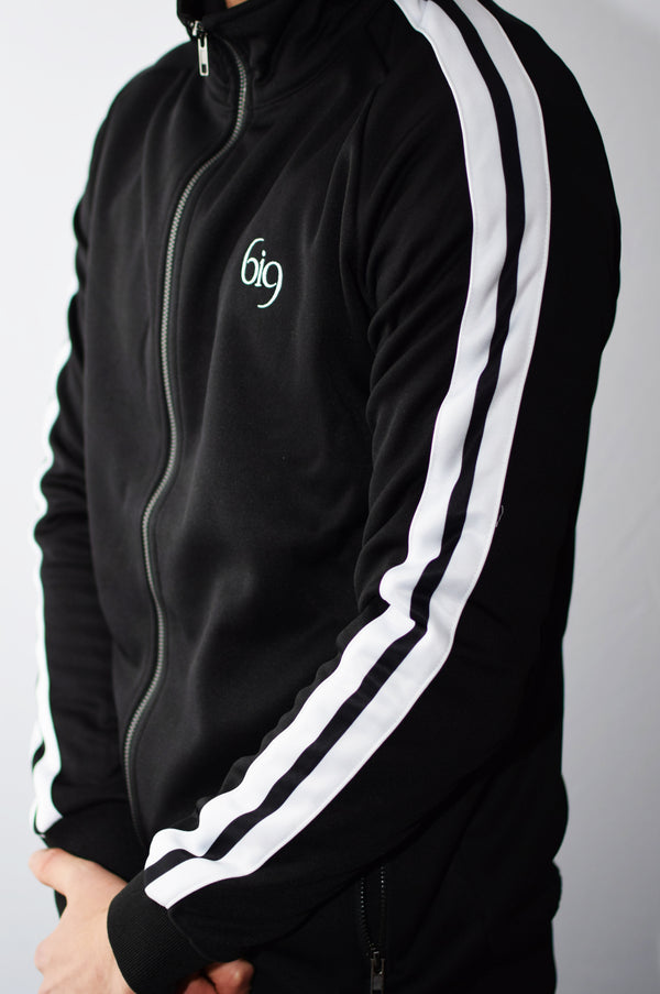 Poly Track Jacket Feat. White Taping & Rear Embroidery - BIG Gymwear Ltd