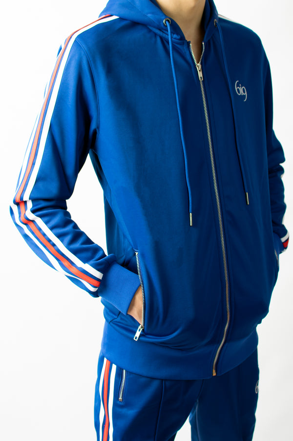 Navy Blue Poly Tracksuit Feat. Red/White Taping - gym-usa