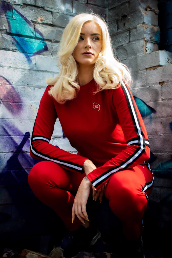 Striped Tracksuit - Red - gym-usa