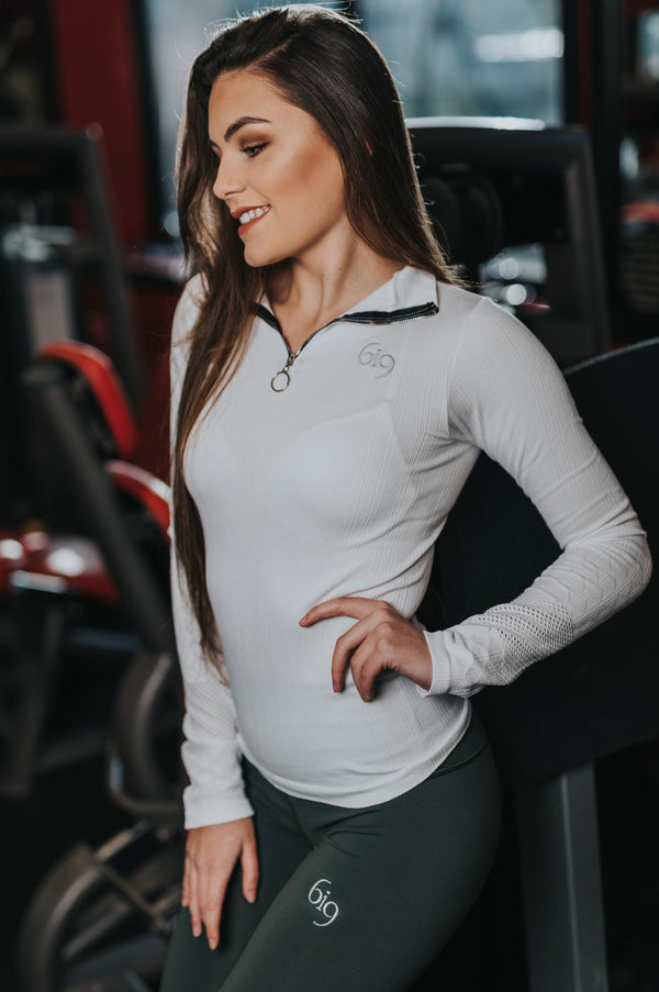 1/4 Zip Jersey White - BIG Gymwear Ltd
